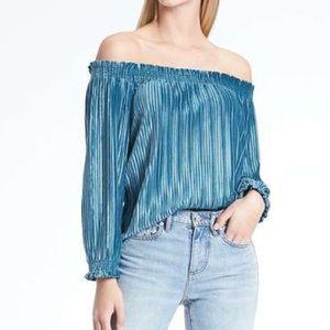 Banana republic velvet off the shoulder blouse